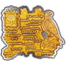 Магнит из бересты вырезной Липецк Липецкая область карта серебро