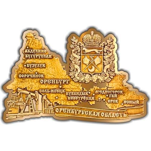 Магнит из бересты вырезной Карта Оренбургской области театр золото
