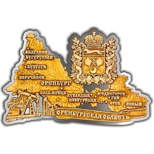 Магнит из бересты вырезной Карта Оренбургской области театр серебро