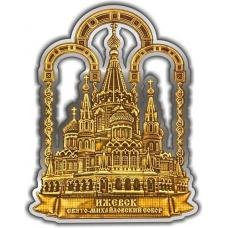 Магнит из бересты вырезной Ижевск Свято-Михайловский собор серебро