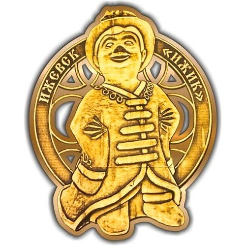 Магнит из бересты вырезной Ижевск Ижик золото