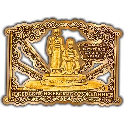 Магнит из бересты вырезной Ижевск Памятник Оружейникам золото