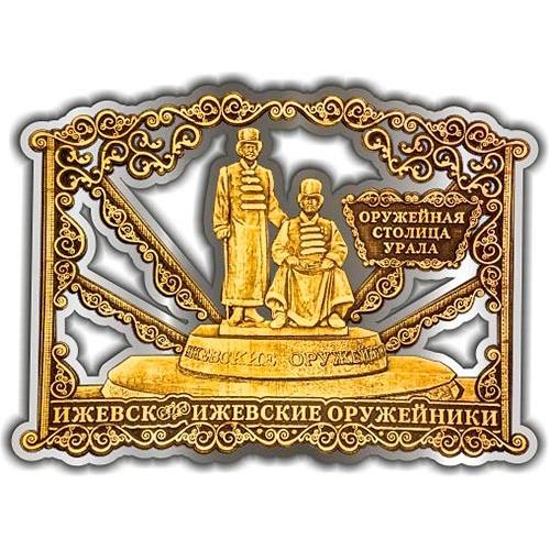 Магнит из бересты вырезной Ижевск Памятник Оружейникам серебро