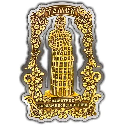 Магнит из бересты вырезной Томск Памятник Беременной женщине серебро
