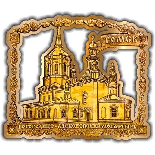 Магнит из бересты вырезной Томск Алексеевский монастырь золото