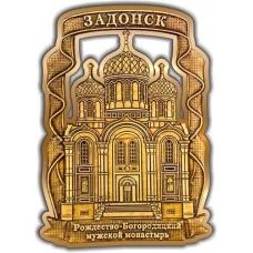 Магнит из бересты вырезной Задонск Рождество-Богородицкий монастырь золото