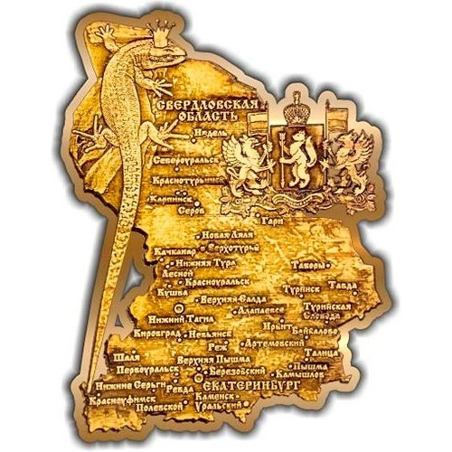 Магнит из бересты вырезной Карта Свердловской области золото