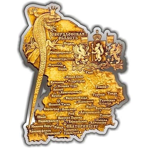 Магнит из бересты вырезной Карта Свердловской области серебро
