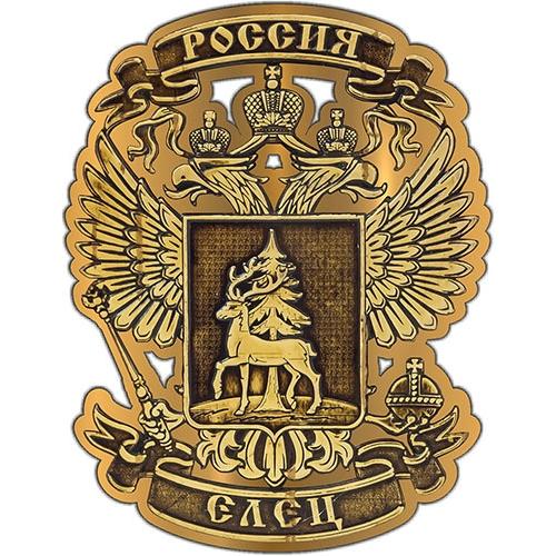 Магнит из бересты вырезной Елец Герб золото