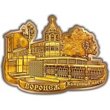 Магнит из бересты вырезной Воронеж Каменный мост золото