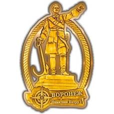 Магнит из бересты вырезной Воронеж Памятник Петру I золото