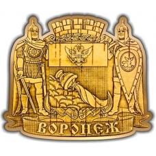 Магнит из бересты вырезной Воронеж Герб золото