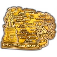 Магнит из бересты вырезной Воронежская область карта золото
