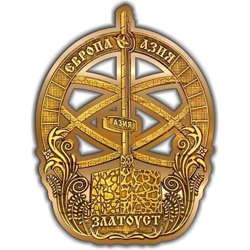 Магнит из бересты вырезной Златоуст Стела Европа-Азия золото