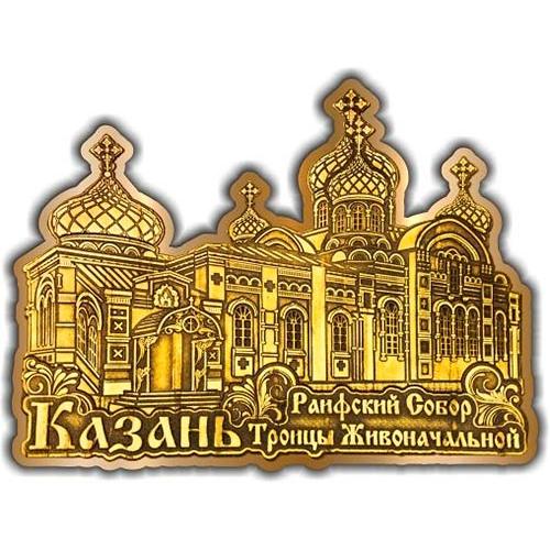 Магнит из бересты вырезной Казань Раифский Собор золото