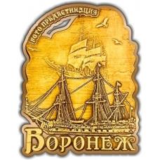 Магнит из бересты вырезной Воронеж Корабль золото