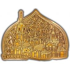 Магнит из бересты вырезной Тюмень Знаменский Кафедральный собор Облако купол золото