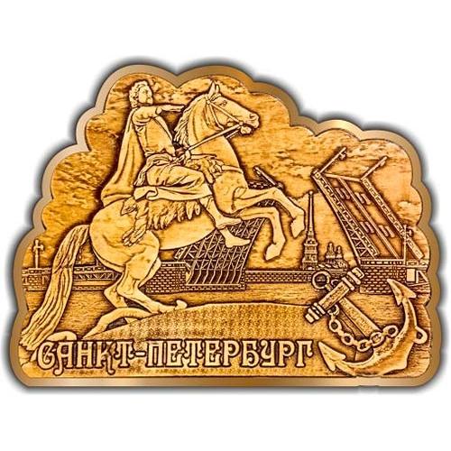 Магнит из бересты вырезной Санкт-Петербург Памятник Петру I (мост, якорь) золото