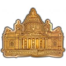 Магнит из бересты вырезной Санкт-Петербург Исакиевский собор (контур) золото