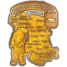 Магнит вырезной Коми-Пермяцкий округ карта золото