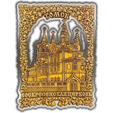 Магнит из бересты вырезной Томск Воскресенская церковь квадрат серебро
