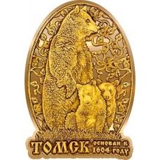 Магнит из бересты вырезной Томск Медведь в облаке золото