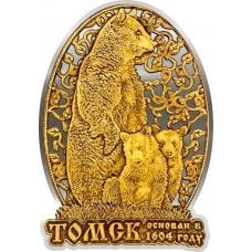 Магнит из бересты вырезной Томск Медведь в облаке серебро