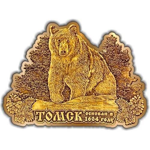 Магнит из бересты вырезной Томск Медведь в кустах золото
