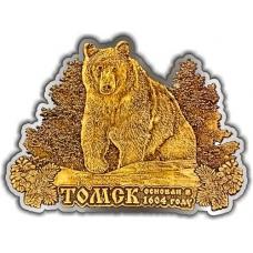 Магнит из бересты вырезной Томск Медведь в кустах серебро