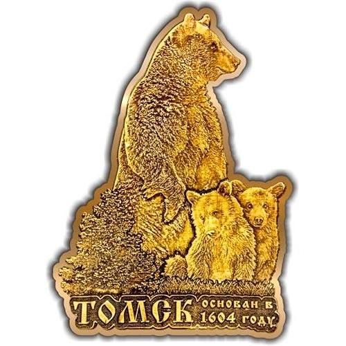 Магнит из бересты вырезной Томск Медведь с медвежатами елочка золото