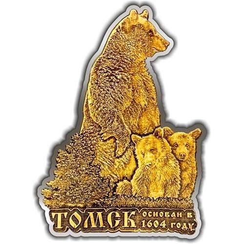 Магнит из бересты вырезной Томск Медведь с медвежатами елочка серебро