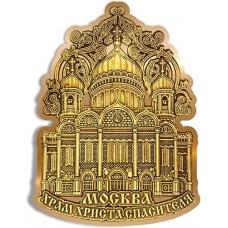 Магнит из бересты вырезной Москва Храм Христа Спасителя орнамент верх золото