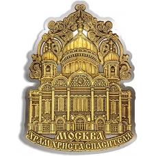 Магнит из бересты вырезной Москва Храм Христа Спасителя орнамент верх серебро
