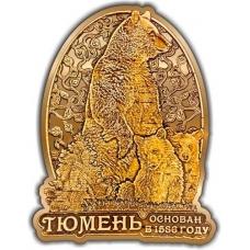 Магнит из бересты вырезной Тюмень Медведь с медвежатами в облаке золото