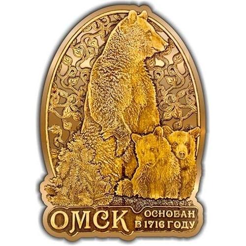 Магнит из бересты вырезной Омск Медведь с медвежатами в облаке золото