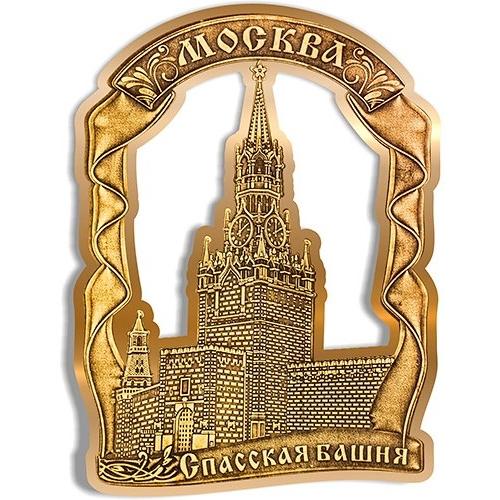 Магнит из бересты вырезной Москва Спасская башня Лента золото