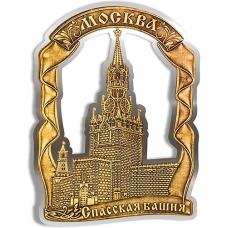 Магнит из бересты вырезной Москва Спасская башня Лента серебро