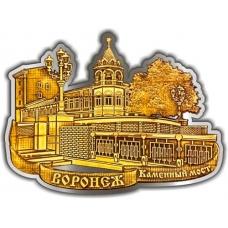 Магнит из бересты вырезной Воронеж Каменный мост серебро