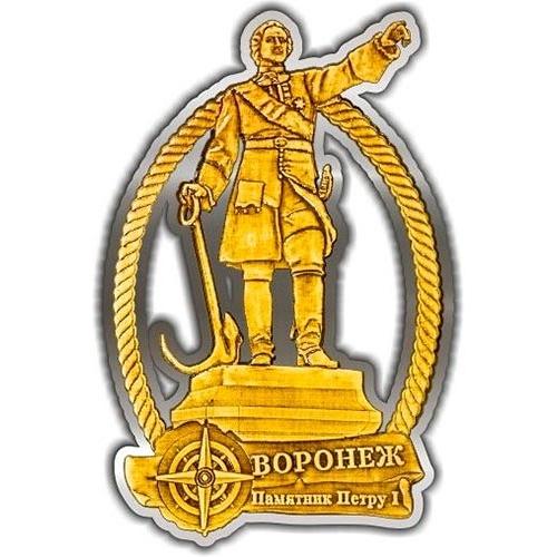 Магнит из бересты вырезной Воронеж Памятник Петру I серебро
