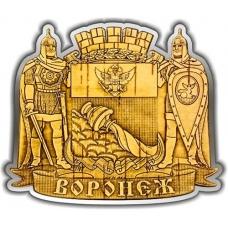 Магнит из бересты вырезной Воронеж Герб серебро