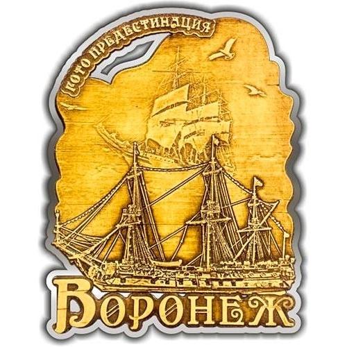 Магнит из бересты вырезной Воронеж Корабль серебро