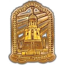 Магнит из бересты вырезной Каменск-Уральский Часовня Александра Невского Арка золото