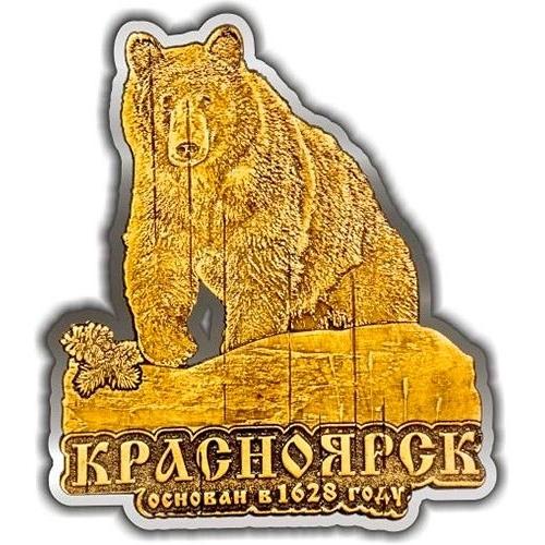 Магнит из бересты вырезной Красноярск Медведь большой на камне серебро