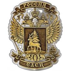 Магнит из бересты вырезной Елец Герб серебро