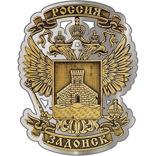 Магнит из бересты вырезной Задонск Герб серебро