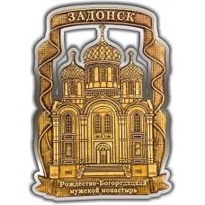 Магнит из бересты вырезной Задонск Рождество-Богородицкий монастырь серебро