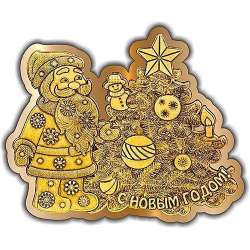 Магнит вырезной Дед мороз елка золото