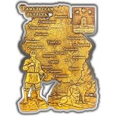 Магнит из бересты вырезной Карта Тамбовской области золото