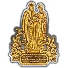 Магнит из бересты вырезной Тамбов Памятник Петру и Февронии золото
