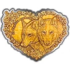 Магнит из бересты вырезной Тамбов Пара волков (сердце) золото